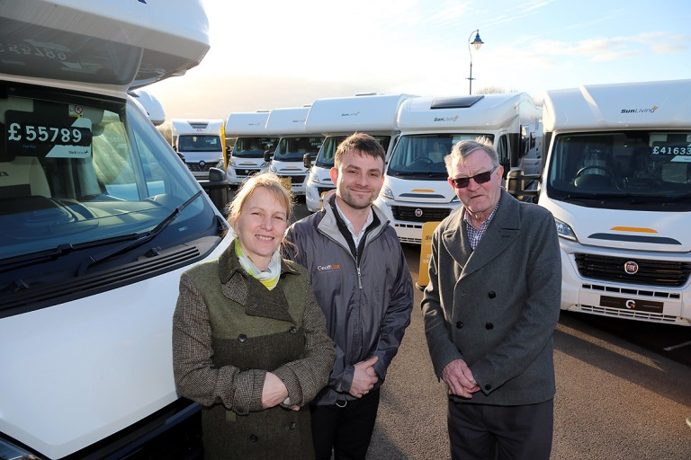 Caravan and motorhome dealer sets up shop in car park of retail outlet centre